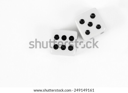 dices closeup on the white - stock photo