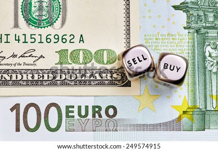 Dices cubes, USD,EUR  banknotes - stock photo