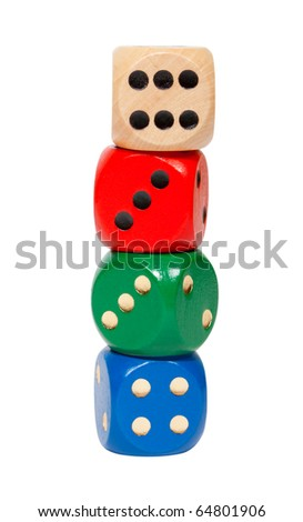 Dices in front of white background with clipping path