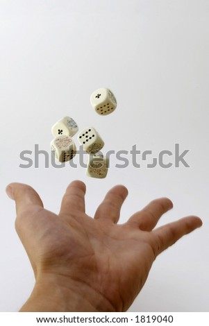 Dices in hand - stock photo