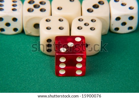 dices isolated on green background