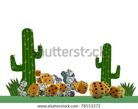 dices on green table isolated on white background - stock photo
