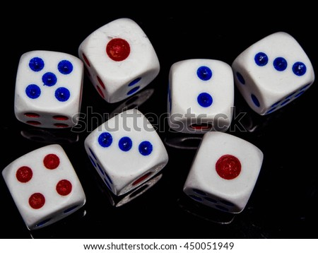dices on the black background