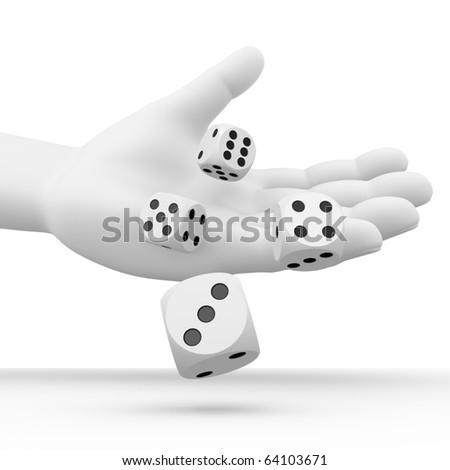 Dices rolling from a hand - stock photo