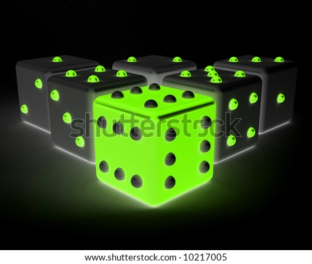 dices winning leadership concept. bright green - stock photo