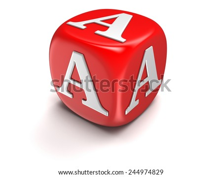 Dices with letter A (clipping path included) - stock photo
