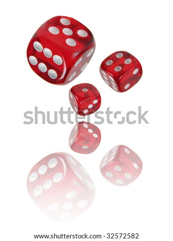 Dices with reflections - stock photo