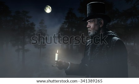 Dickens Scrooge Man with Candlestick Walking in Winter Forest at Moonlight. - stock photo