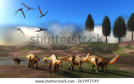 Dicraeosaurus Dinosaur Meadow - A flock of Rhamphorhynchus pterosaurs fly over a herd of Dicraeosaurus dinosaurs leaving a watering hole. - stock photo
