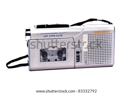 dictaphone on white backgrounds - stock photo