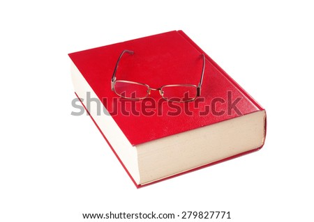 Dictionary and eyeglasses on white background - stock photo