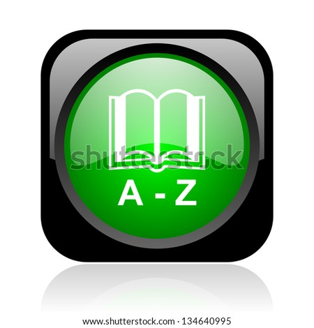 dictionary black and green square web glossy icon