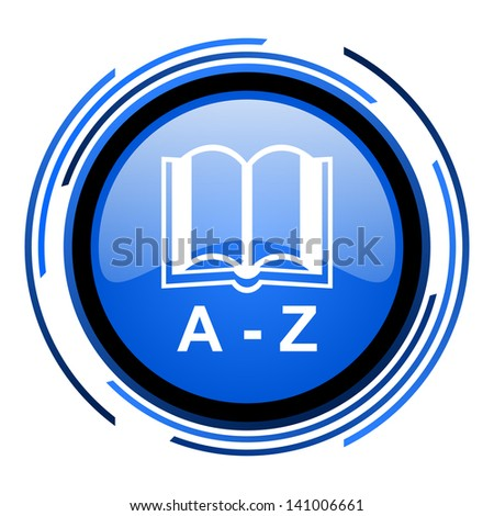 dictionary circle blue glossy icon