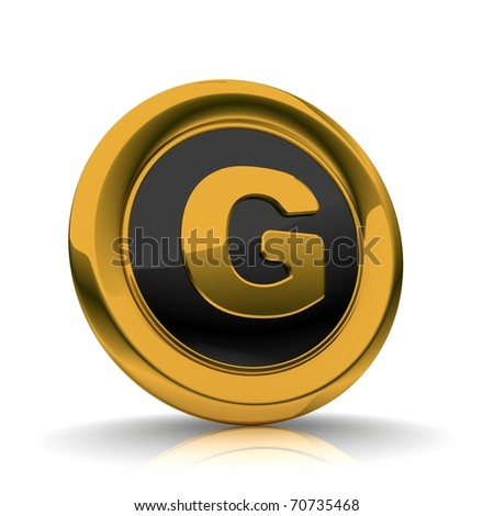 Dictionary 3D glossy icon with G or text symbol - stock photo