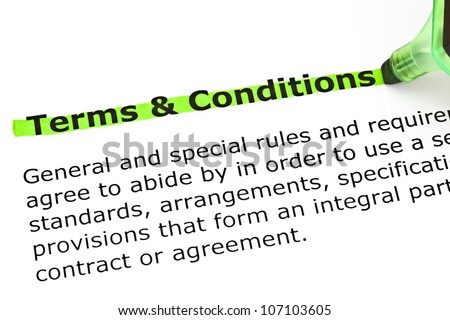 Dictionary definition of Terms and Conditions, highlighted with green marker. - stock photo