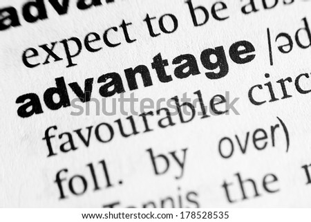 Dictionary definition of the word Advantage - stock photo