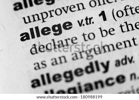 Dictionary definition of the word Allege - stock photo