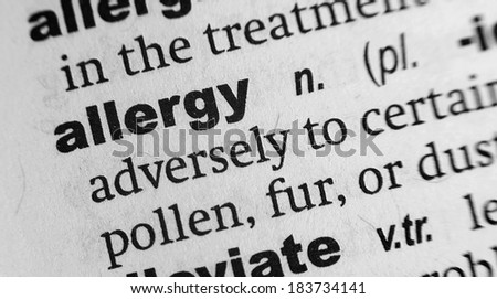 Dictionary definition of the word Allergy - stock photo