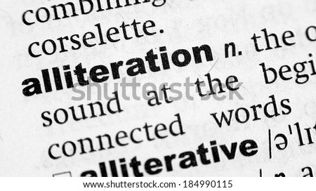 Dictionary definition of the word Alliteration - stock photo