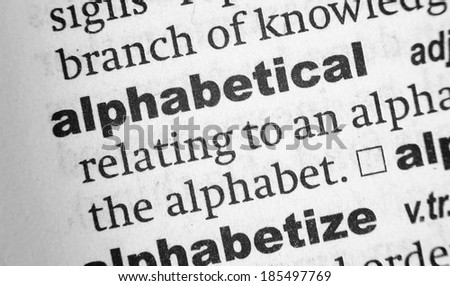 Dictionary definition of the word Alphabetical - stock photo