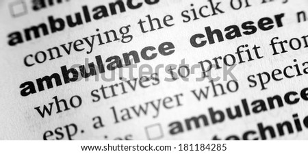Dictionary definition of the word ambulance chaser - stock photo