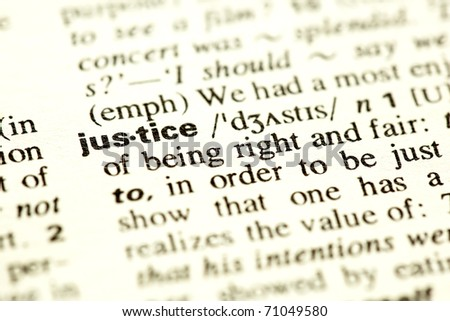 Dictionary definition of the word Justice. - stock photo
