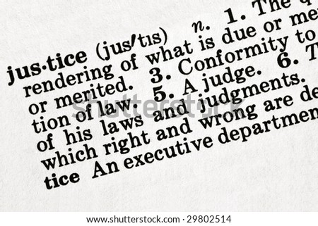 """Dictionary definition of the word """"justice"""", in sepia tone. - stock photo"""