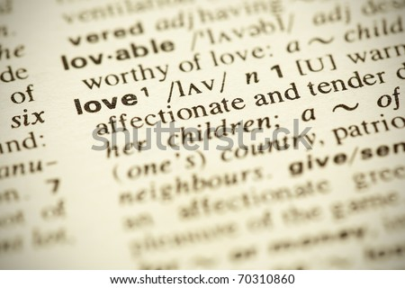 """Dictionary definition of the word """"LOVE"""" in English. Shallow DOF. - stock photo"""