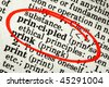 "Dictionary definition of the word ""principled"", circled in red. - stock photo"