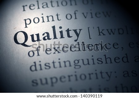Dictionary definition of the word Quality.  - stock photo