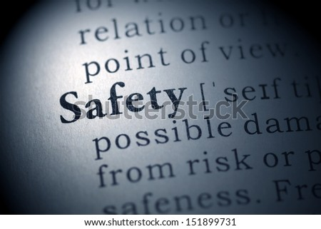 Dictionary definition of the word Safety  - stock photo