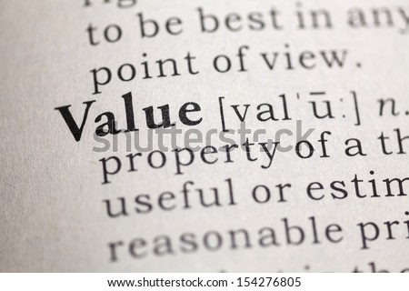 Dictionary definition of the word Value.  - stock photo