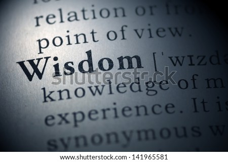 Dictionary definition of the word Wisdom. Fake Dictionary - stock photo
