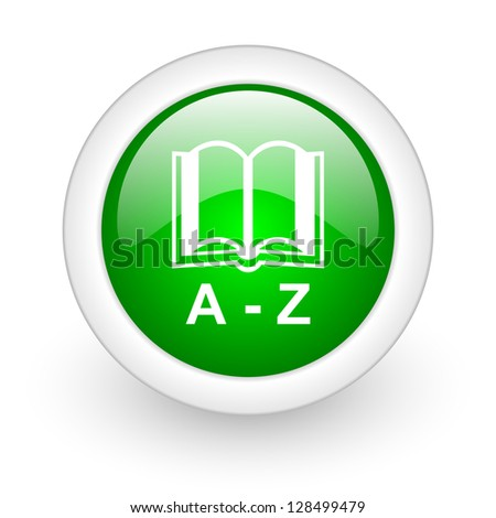 dictionary green circle glossy web icon on white background