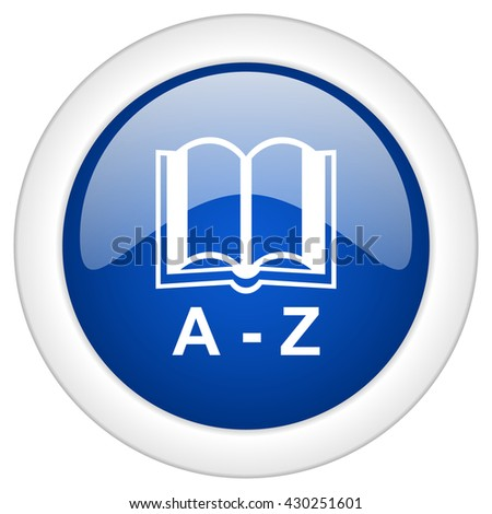 dictionary icon, circle blue glossy internet button, web and mobile app illustration