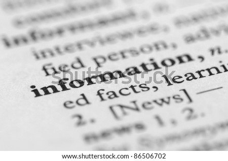 Dictionary Series - Information - stock photo