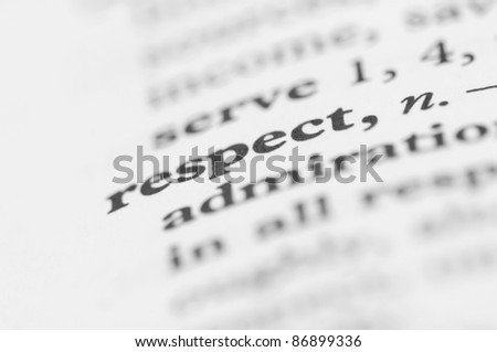 Dictionary Series - Respect - stock photo