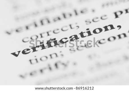 Dictionary Series - Verification - stock photo