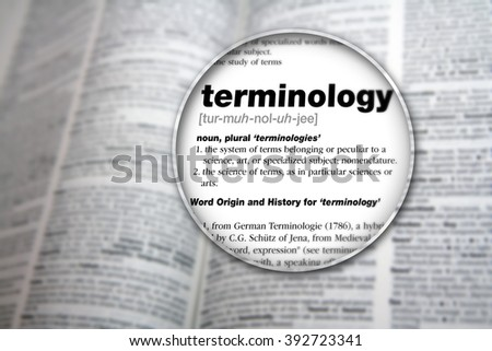 Dictionary showing the word 'Terminology'. - stock photo