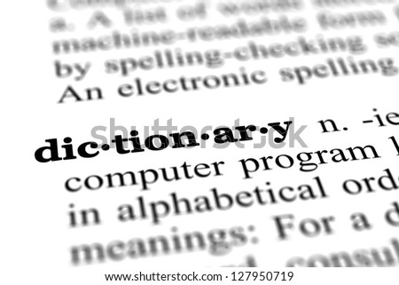 dictionary word from a free dictionary, close up - stock photo