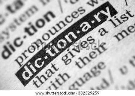 Dictionary Word Text in Dictionary Page - stock photo