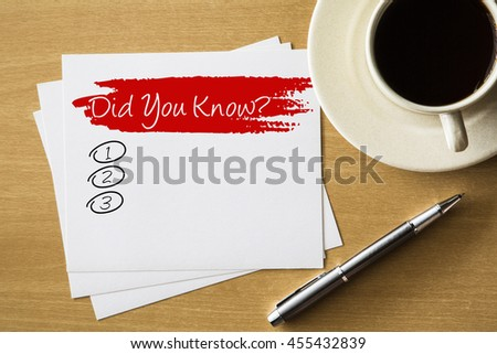 Did you know? blank list - handwriting on paper with cup of coffee and pen, business concept - stock photo