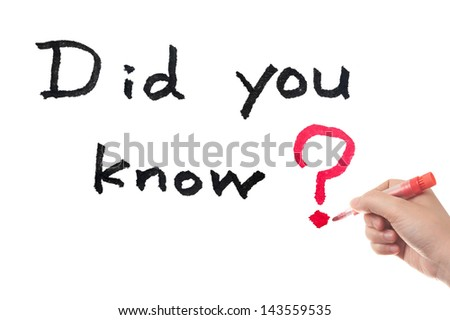 Did you know words written on white board - stock photo