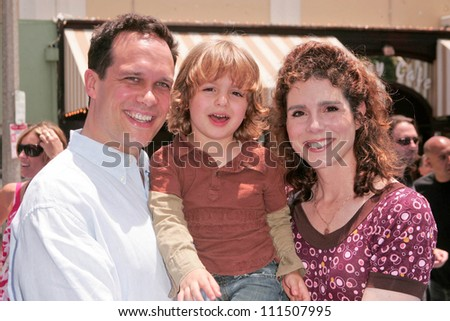 "Diedrich Bader with Dulcy Rogers and son at the Los Angeles Premiere of ""Surf's Up"". Mann Village Theatre, Westwood, CA. 06-02-07"