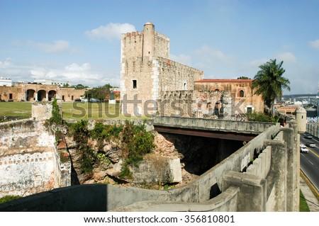 Diego Columbus palace ( alcazar ) in Santo Domingo, Dominican Republic - stock photo