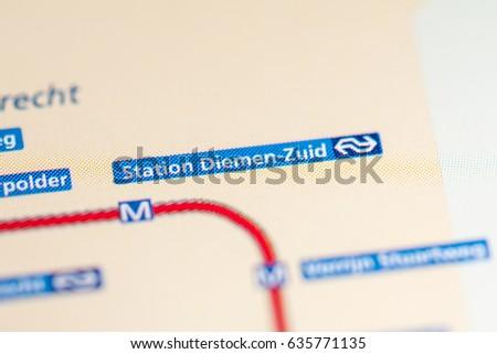 Sloterdijk Station Amsterdam Metro Map Stock Photo 635772845