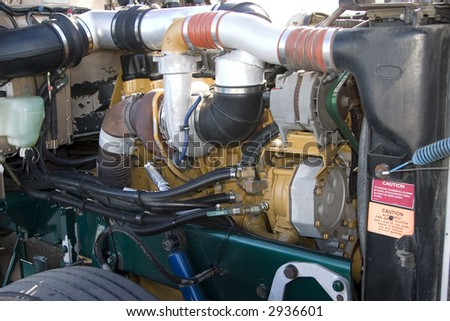 Diesel engine compartment with turbo charger - stock photo