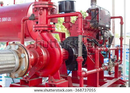 Diesel engine driven fire pump? - stock photo