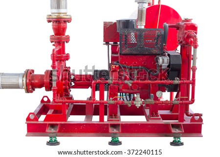 Diesel engine driven fire pump isolated on white background. - stock photo