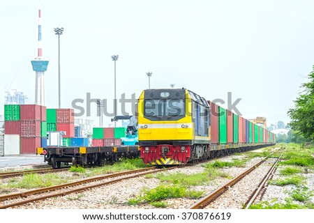 Diesel Locomotive and Cloudy Sky - stock photo